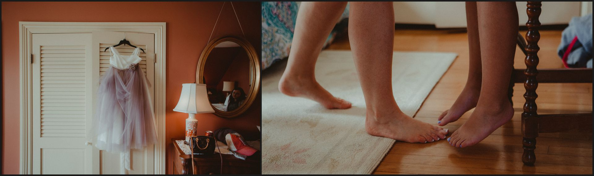 bride preparation, feet, mirror, child, mother and daughter