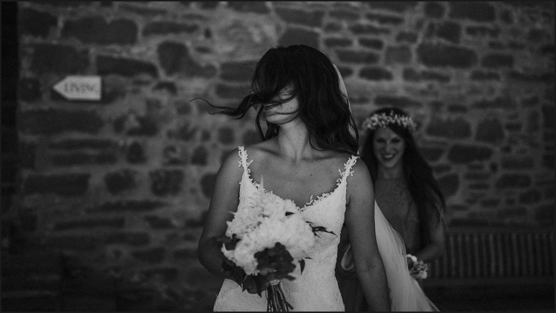black and white, portrait, wind, hair, wedding, bride, umbria, nikis resort