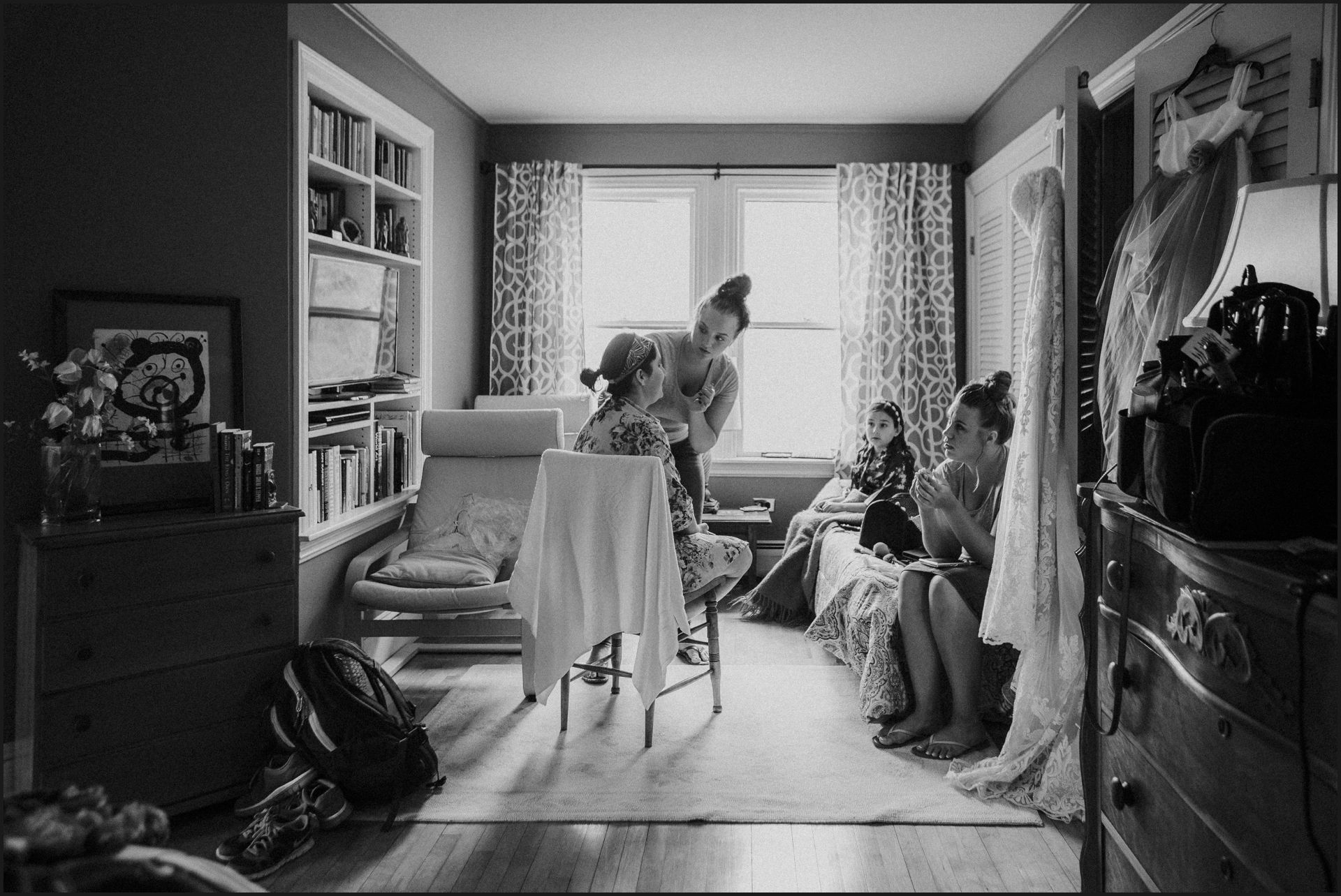 bride preparation, black and white, getting ready, window