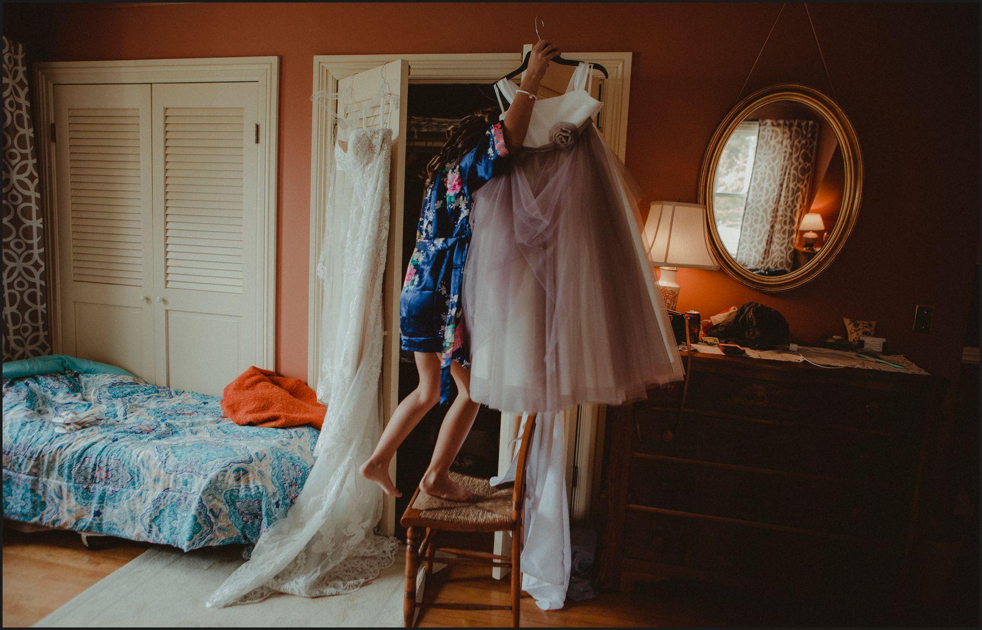 wedding dress, child, bride preparation, wedding preparation, pink dress