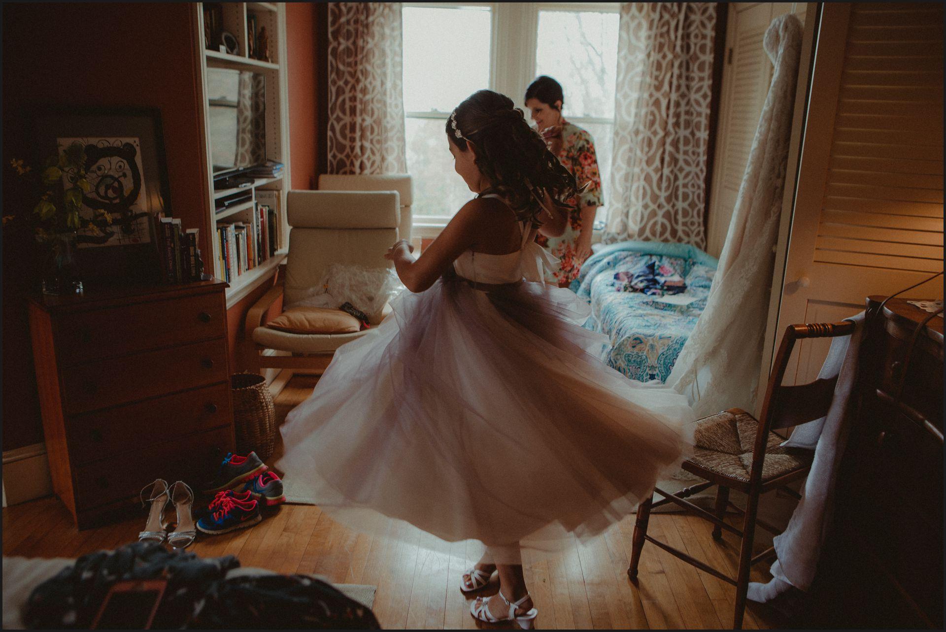 child, wedding dress, getting ready, wedding preparation