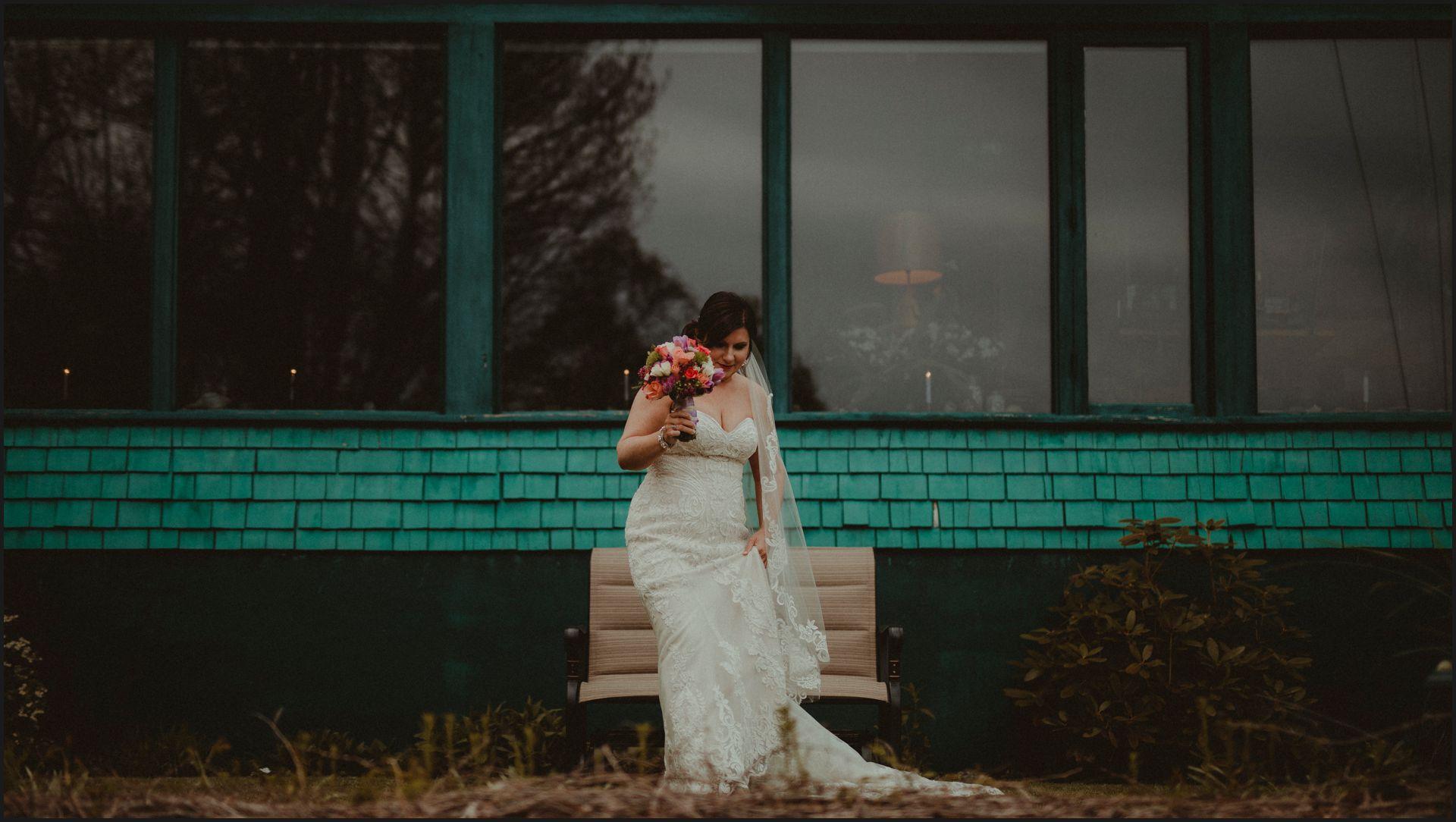 bride portrait, bride dress, wedding, maine, cottage, acadia national park