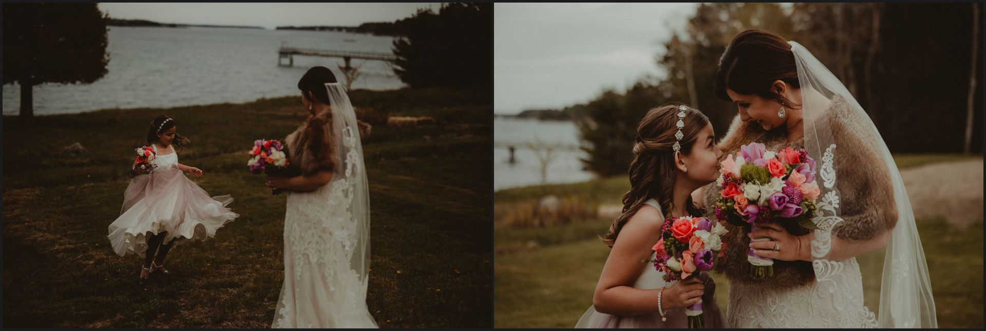 bride, wedding, ocean, bar harbour, southwest harbor, acadia national park, child, maid of honour, wedding gown, bride dress