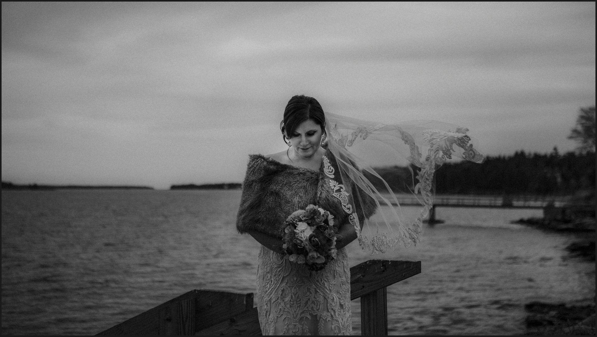 black and white, bride portrait, wedding in Maine, bride, wedding dress, veil, wind, ocean, bar harbou, acadia national park