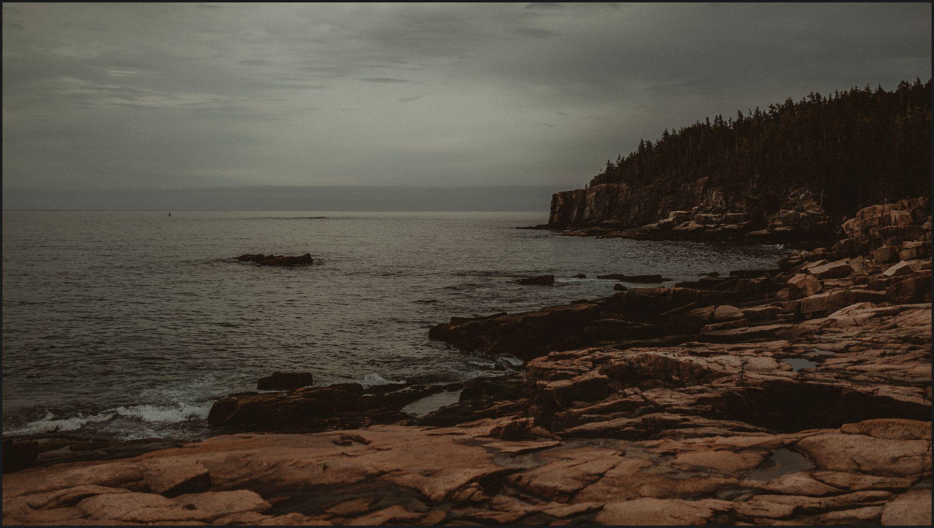acadia national park, ceremony venue, bar harbor, maine wedding, cliff, ocean, ocean view