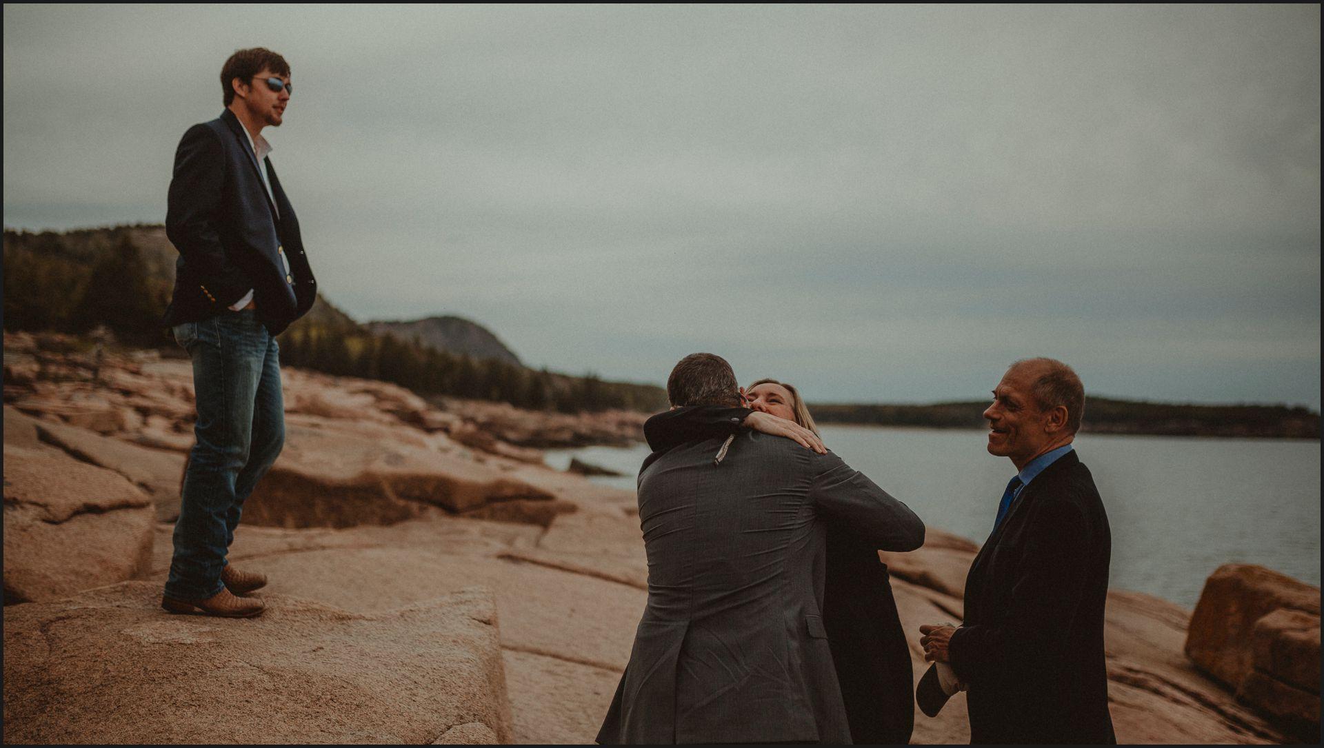 maine wedding, hugs, groom, acadia national park, ocean, bar harbor, maine