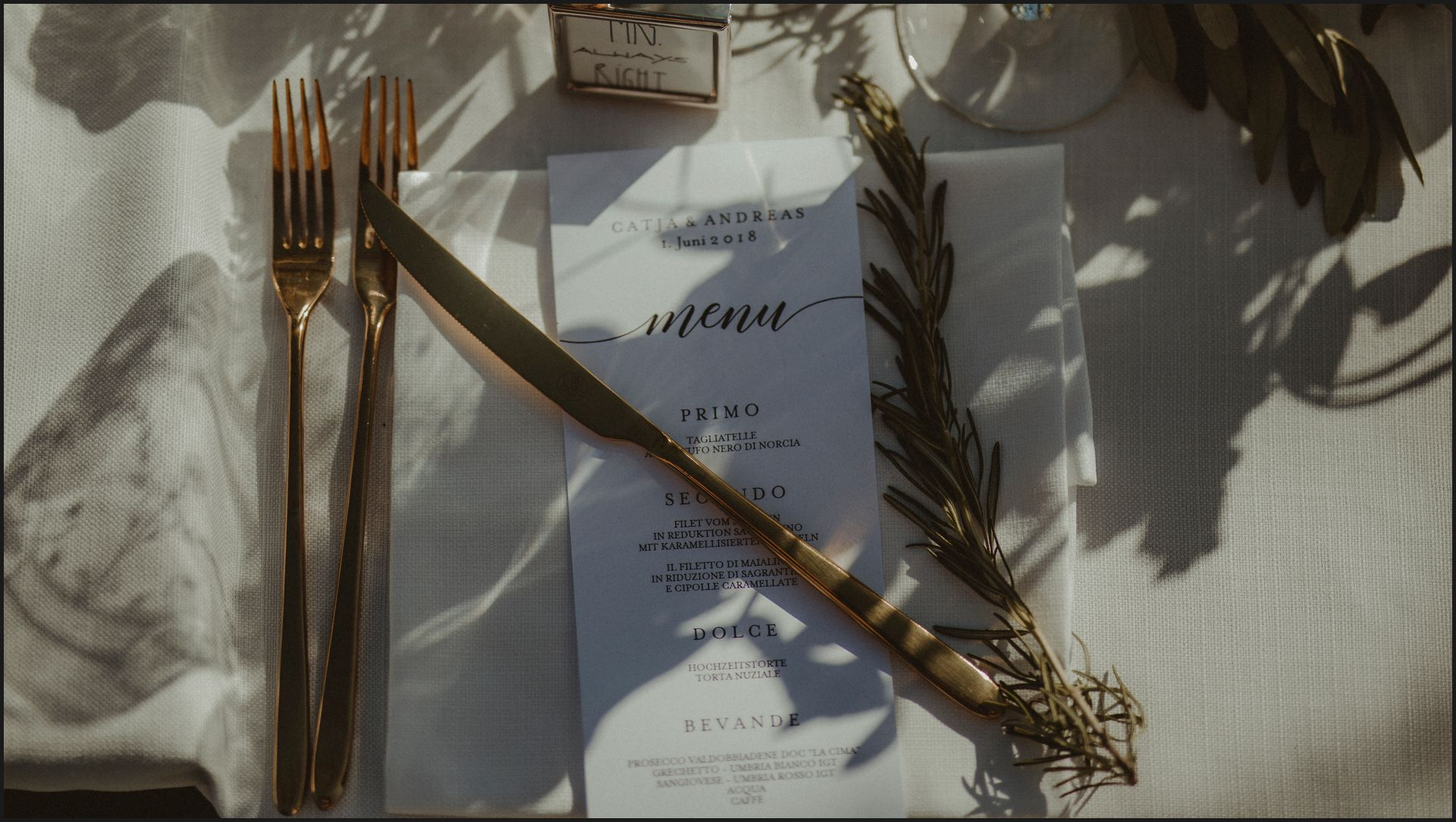 wedding, details, table set, menu, umbria, nikis resort, love