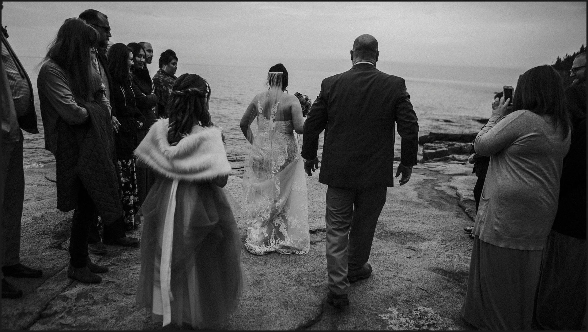 black and white, walking the aisle, wedding, maine, acadia national park, bar harbor, cliff, bride's dad, bride