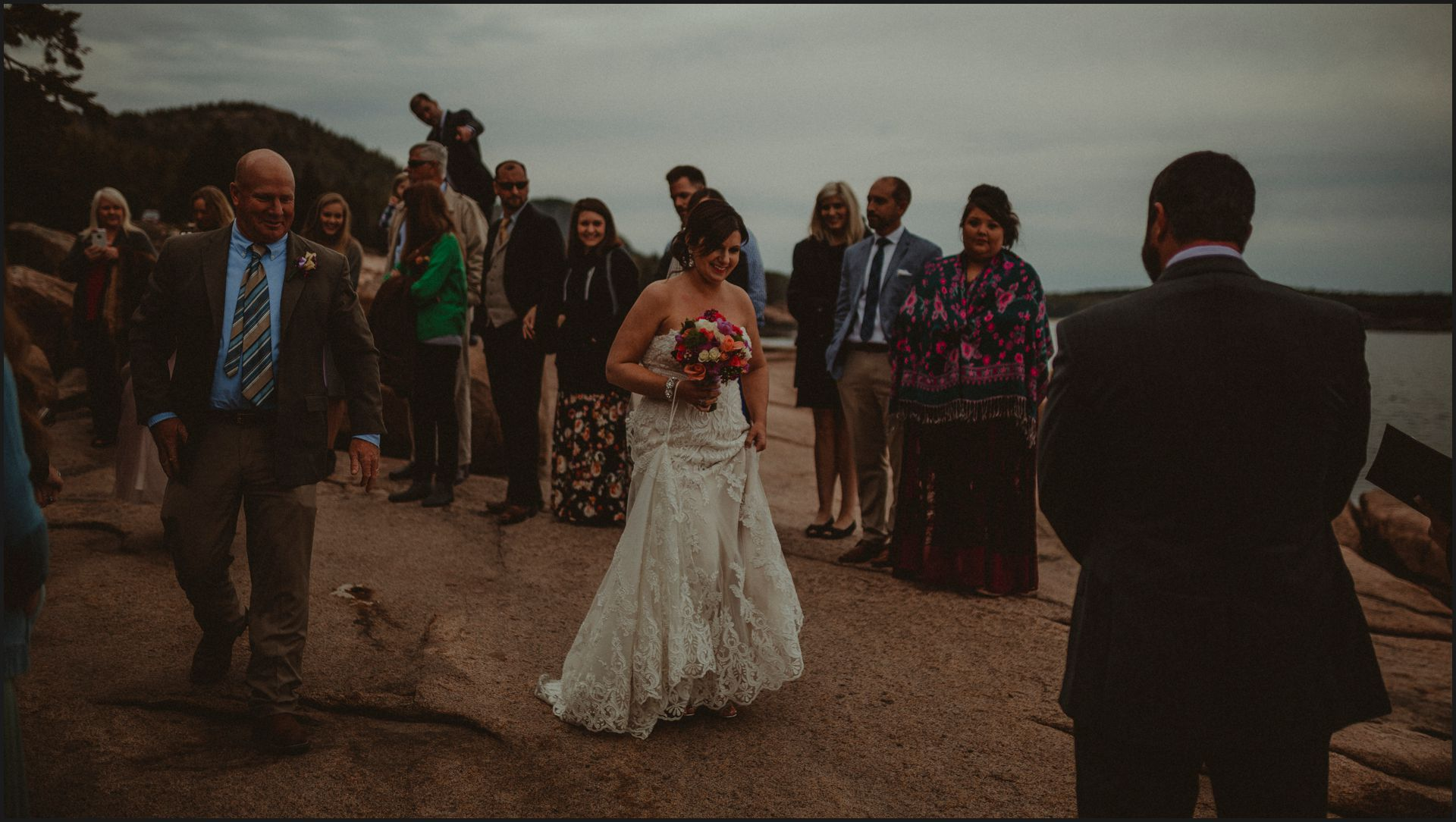walking the aisle, wedding, maine, acadia national park, bar harbor, cliff, bridal dress, bride