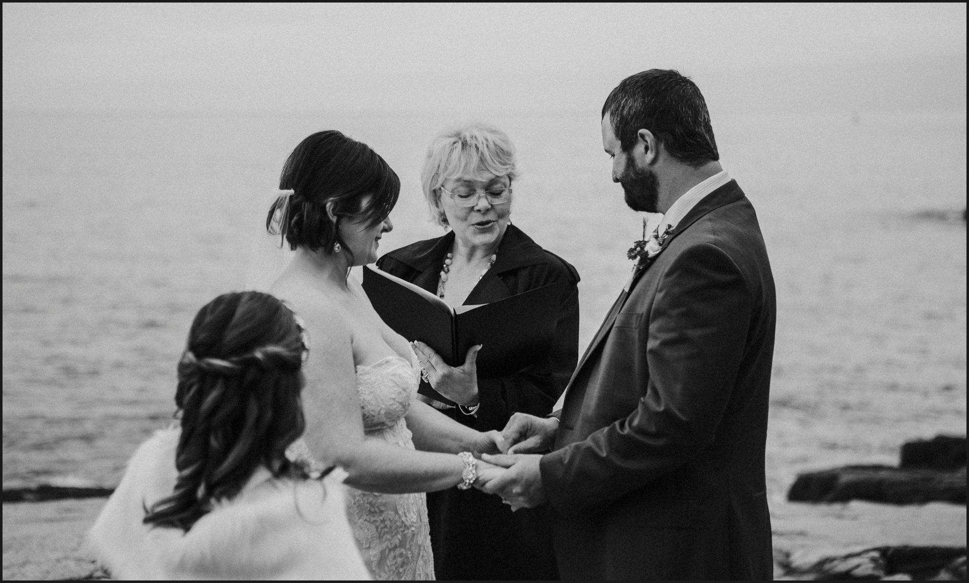 black and white, wedding, ceremony, celebrant, bride and groom, hand in hand, wedding by the sea, ocean view