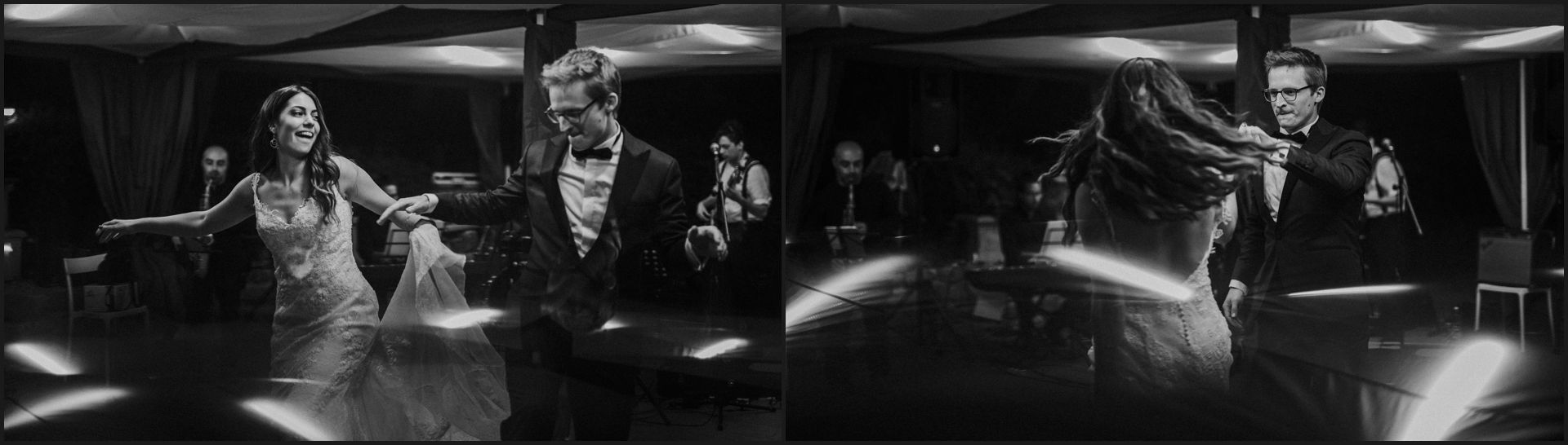 first dance, bride, groom, wedding, umbria, nikis resort, black and white