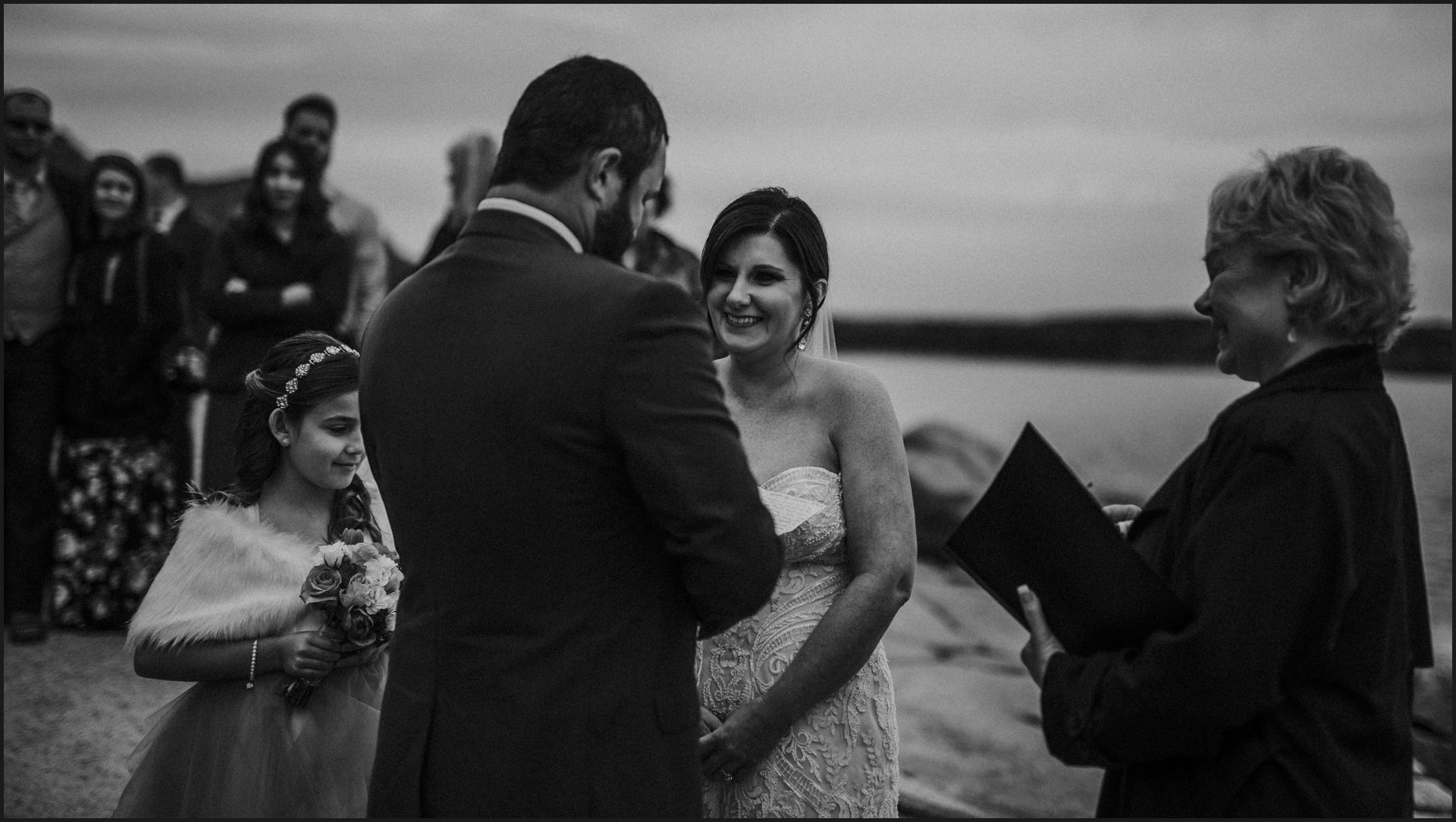 wedding by the sea, maine, cliff, ceremony, celebrant, ocean view, acadia national park