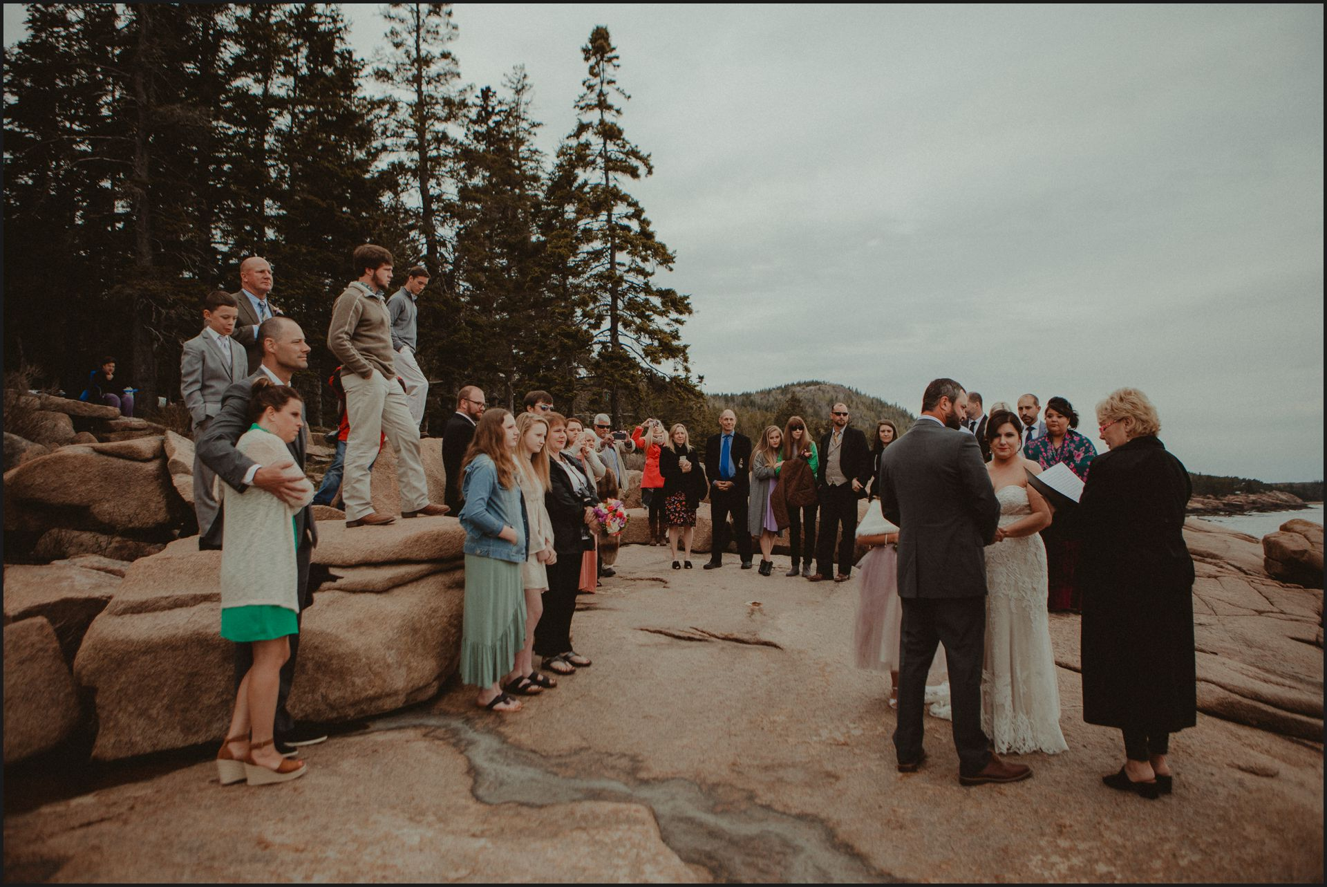 wedding venue, cliff, maine wedding, acadia national park, ceremony, bride and groom, friends, celebrant, wedding by the ocean