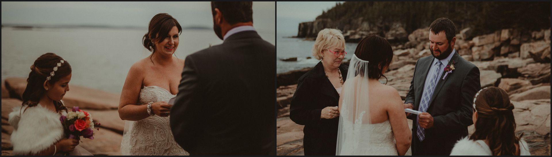 ceremony by the ocean, maine wedding, celebrant, bride and groom, acadia national park