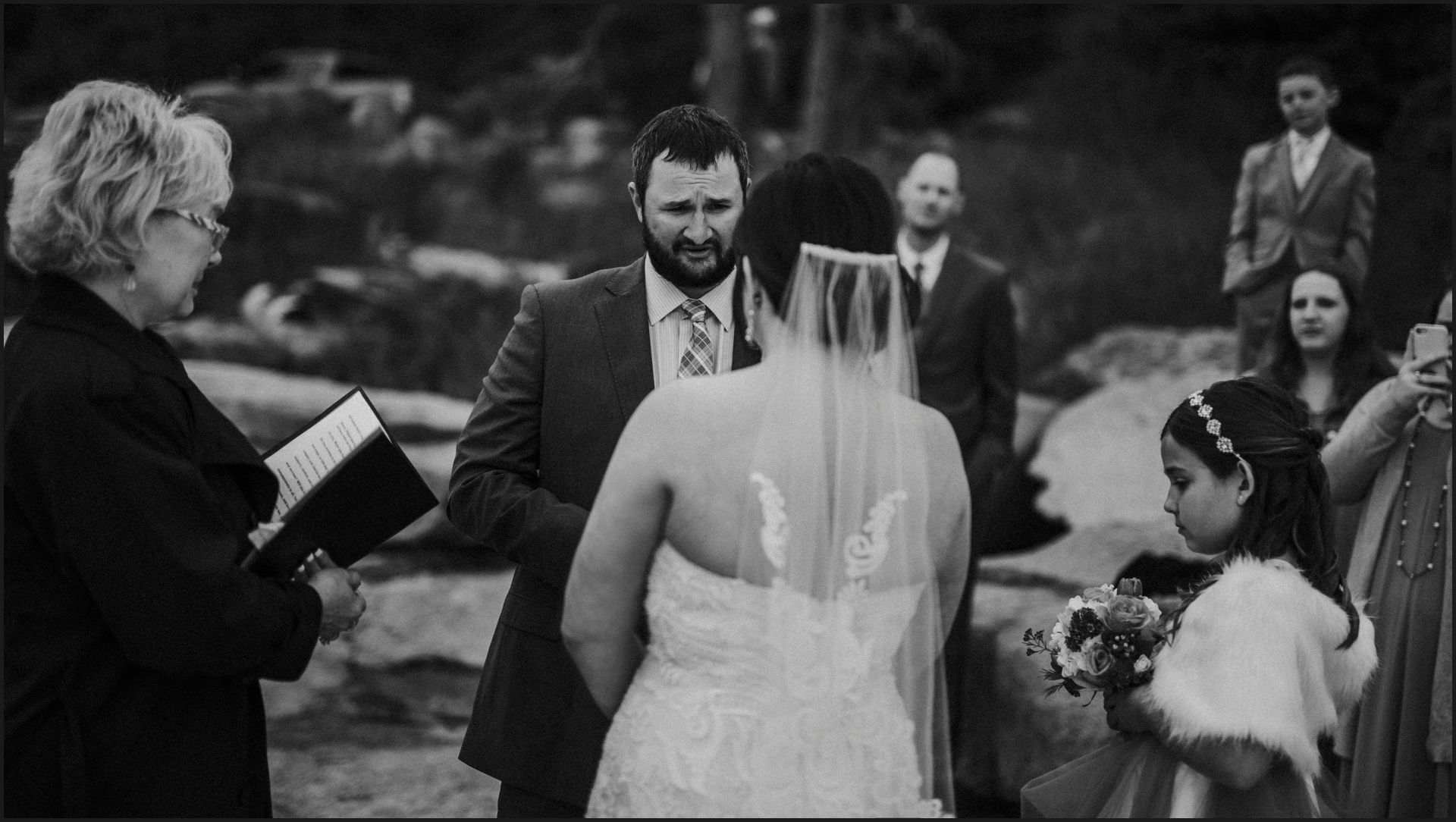 black and white, ceremony, bride and groom, wedding vows