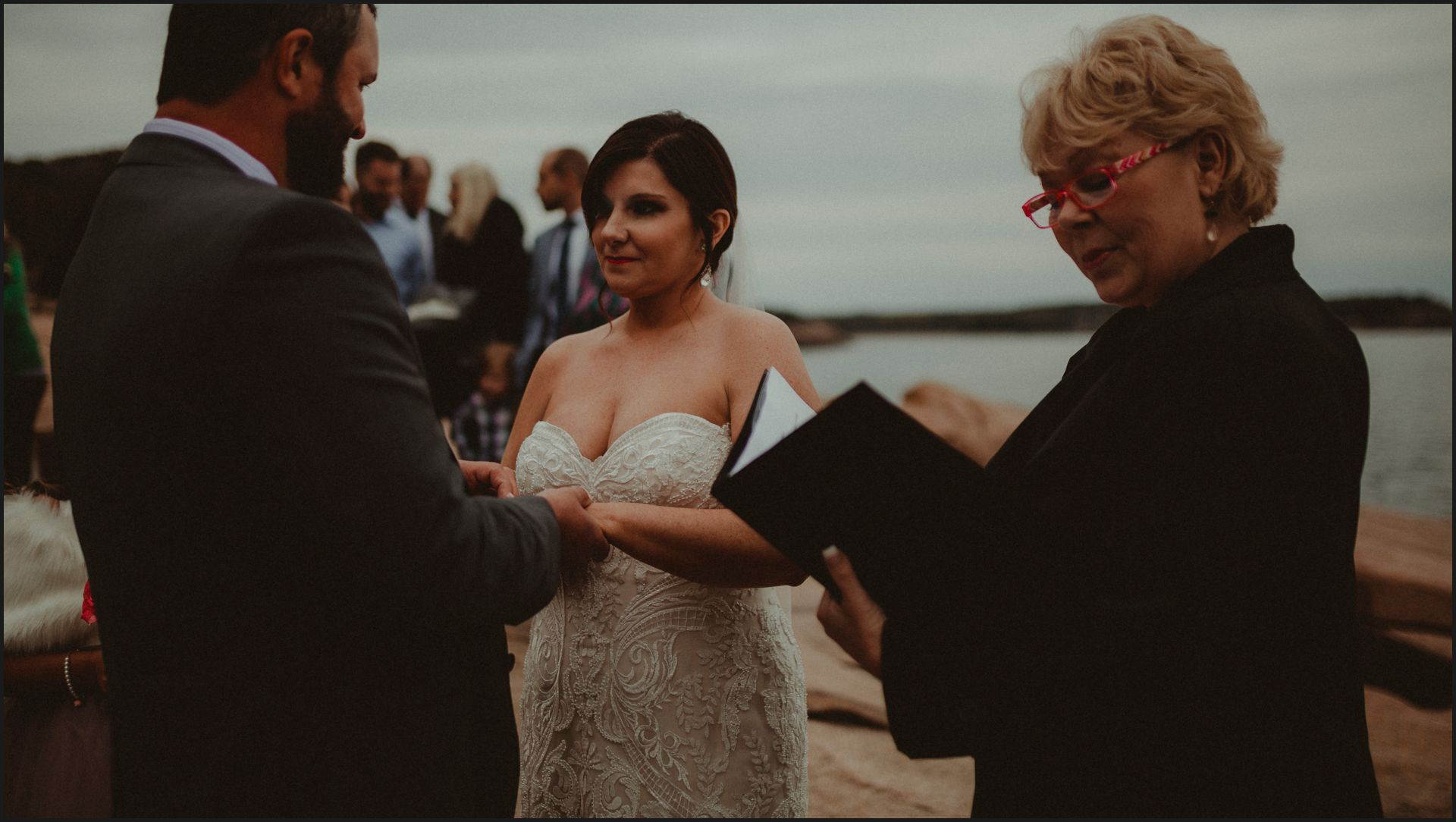 bride and groom, celebrant, wedding by the sea, maine, bar harbor
