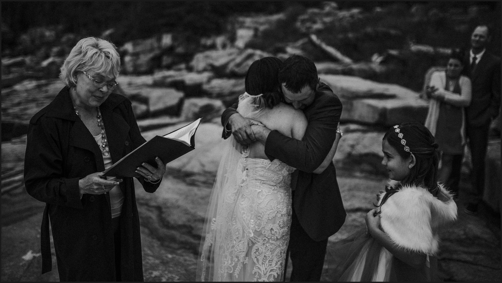 bride and groom, hug, ceremony, black and white