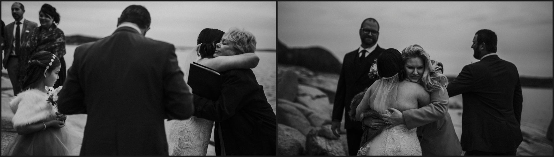 black and white, bride, groom, maine wedding, hugs, wedding guests