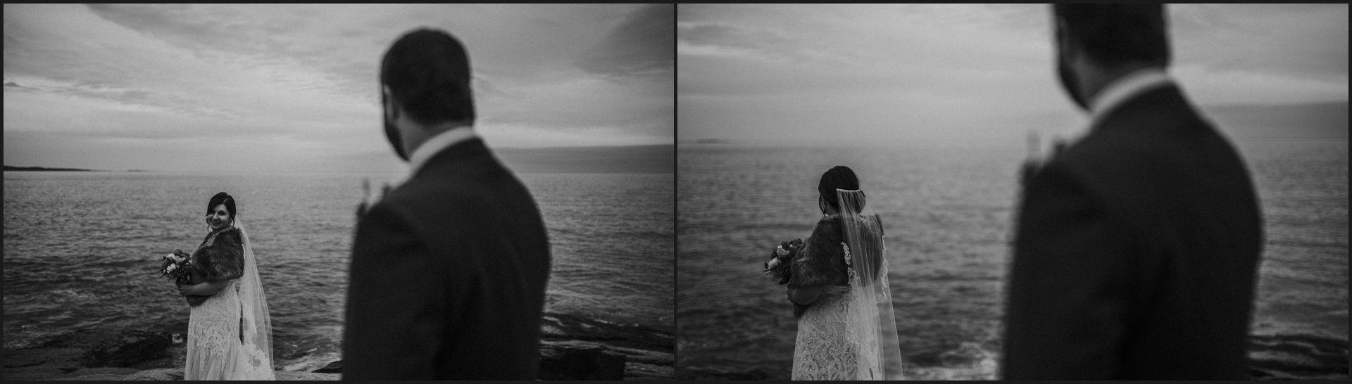 bride, groom, bar harbor, maine wedding, black and white, landscape