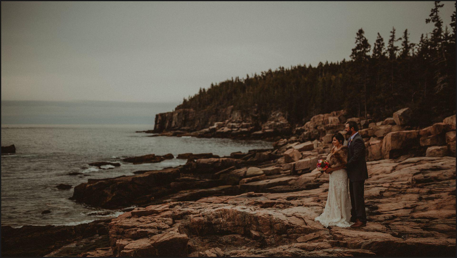 acadia national park, maine, wedding, couple portrait, bride, groom