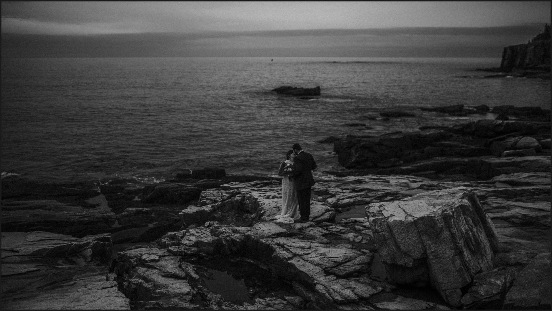 bride, groom, bar harbor, maine wedding, black and white, landscape, wedding by the ocean