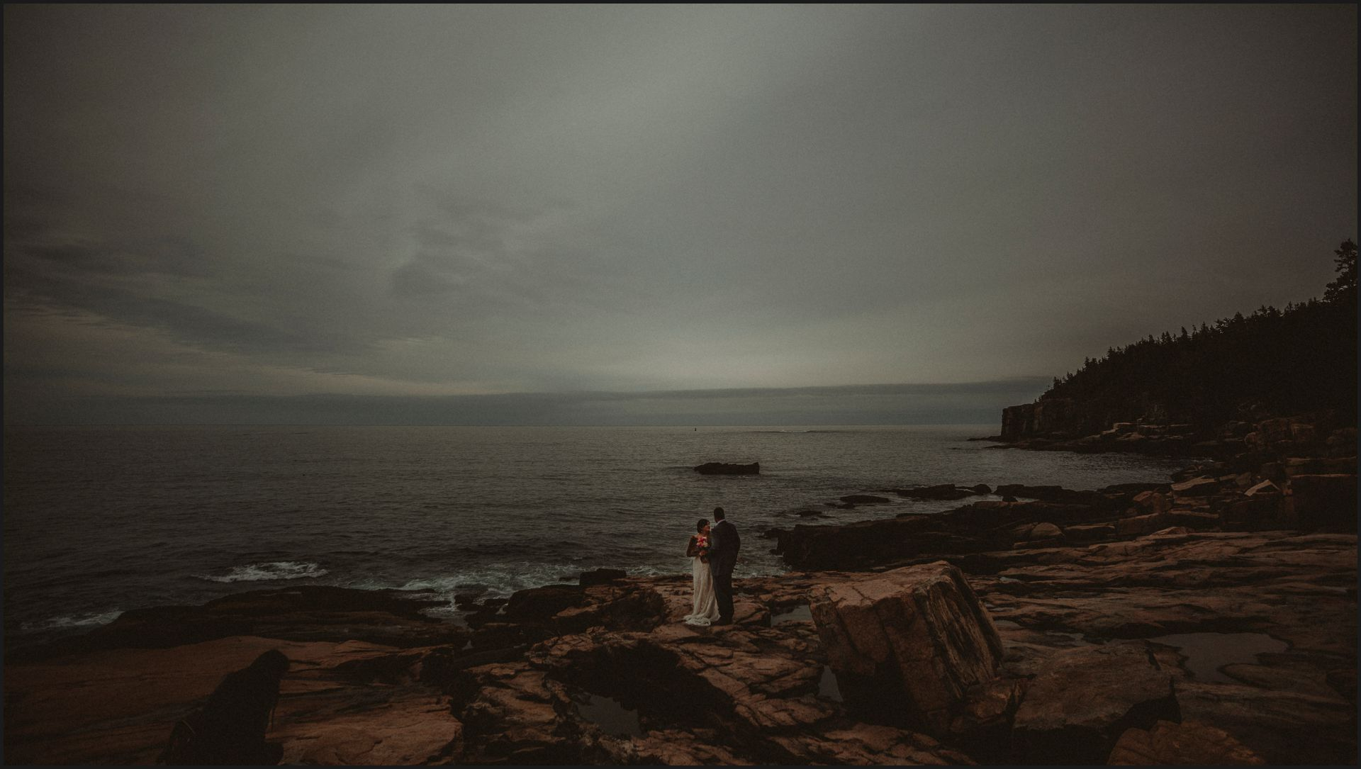 acadia national park, maine, wedding, couple portrait, bride, groom, drama