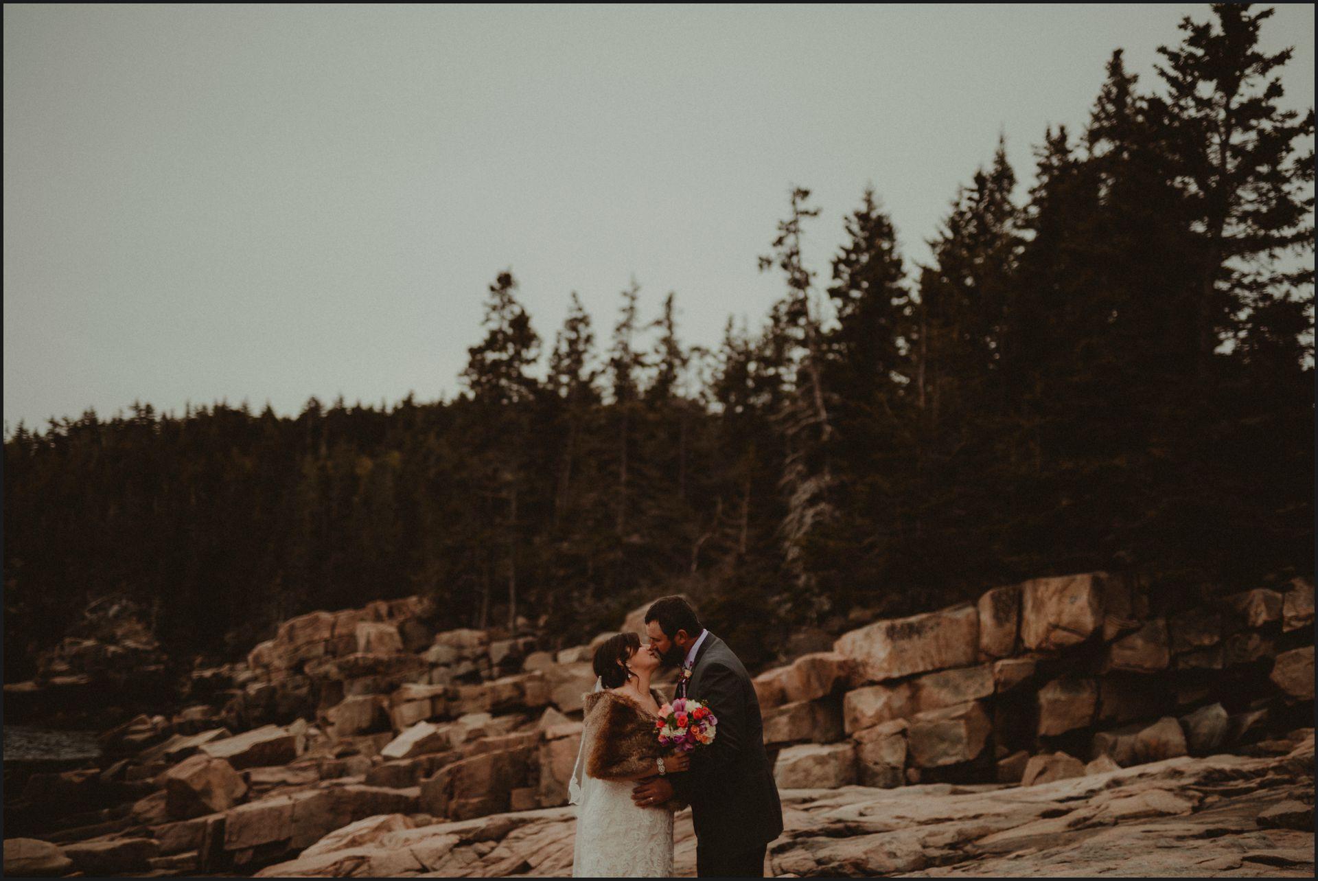acadia national park, maine, wedding, couple portrait, bride, groom, beach wedding