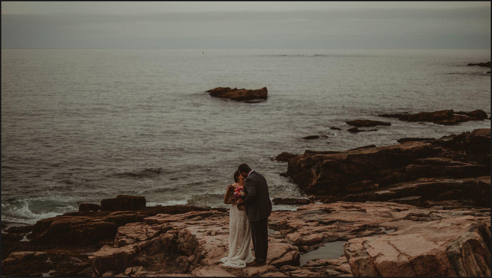 acadia national park, maine, wedding, couple portrait, bride, groom, destination wedding