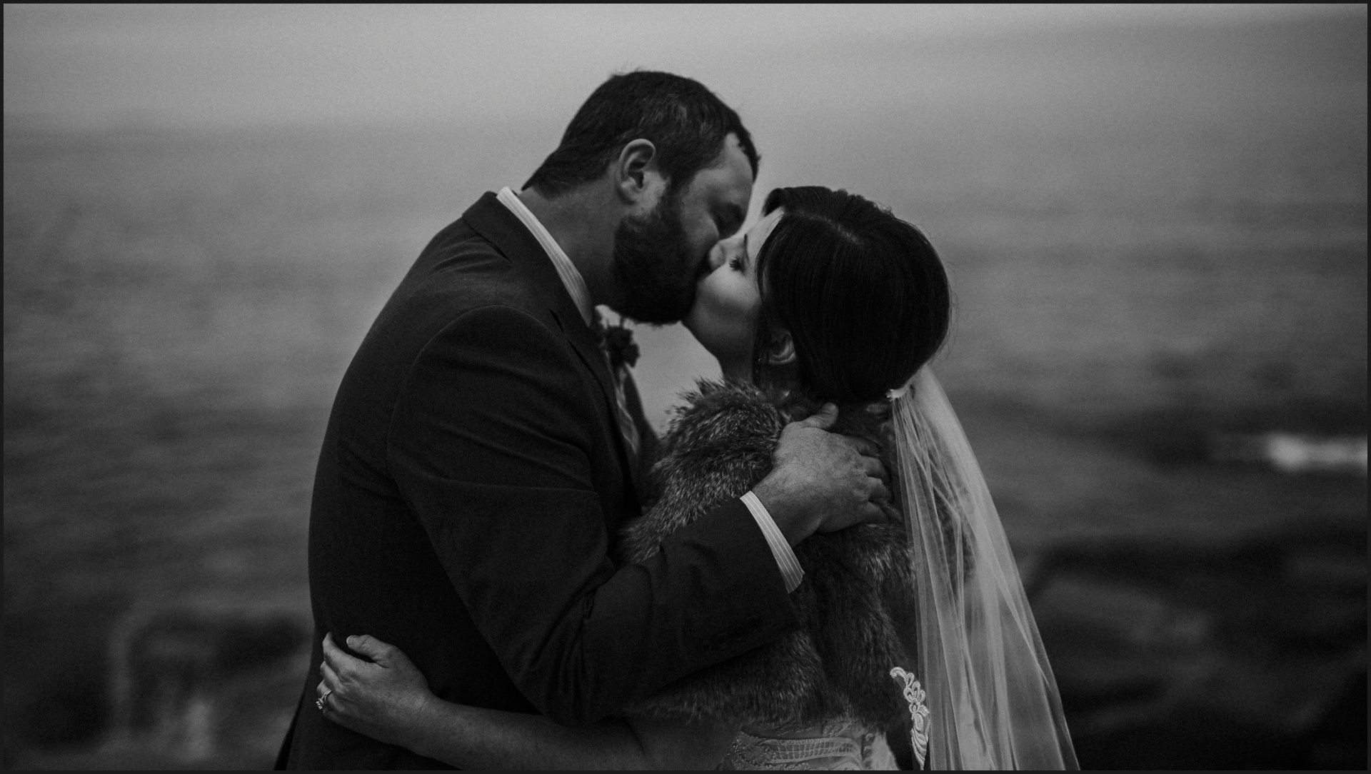 bride, groom, bar harbor, maine wedding, black and white, landscape, wedding by the ocean, kiss, destination wedding