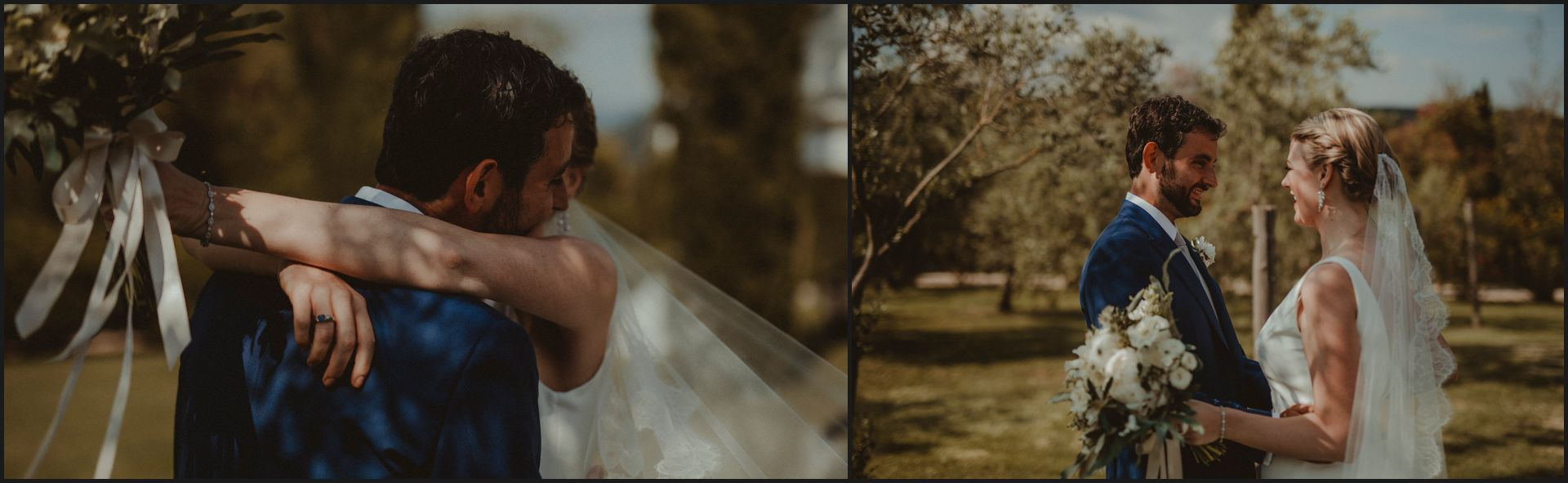 tenuta di canonica, umbria, wedding, first look, bride, groom, hug