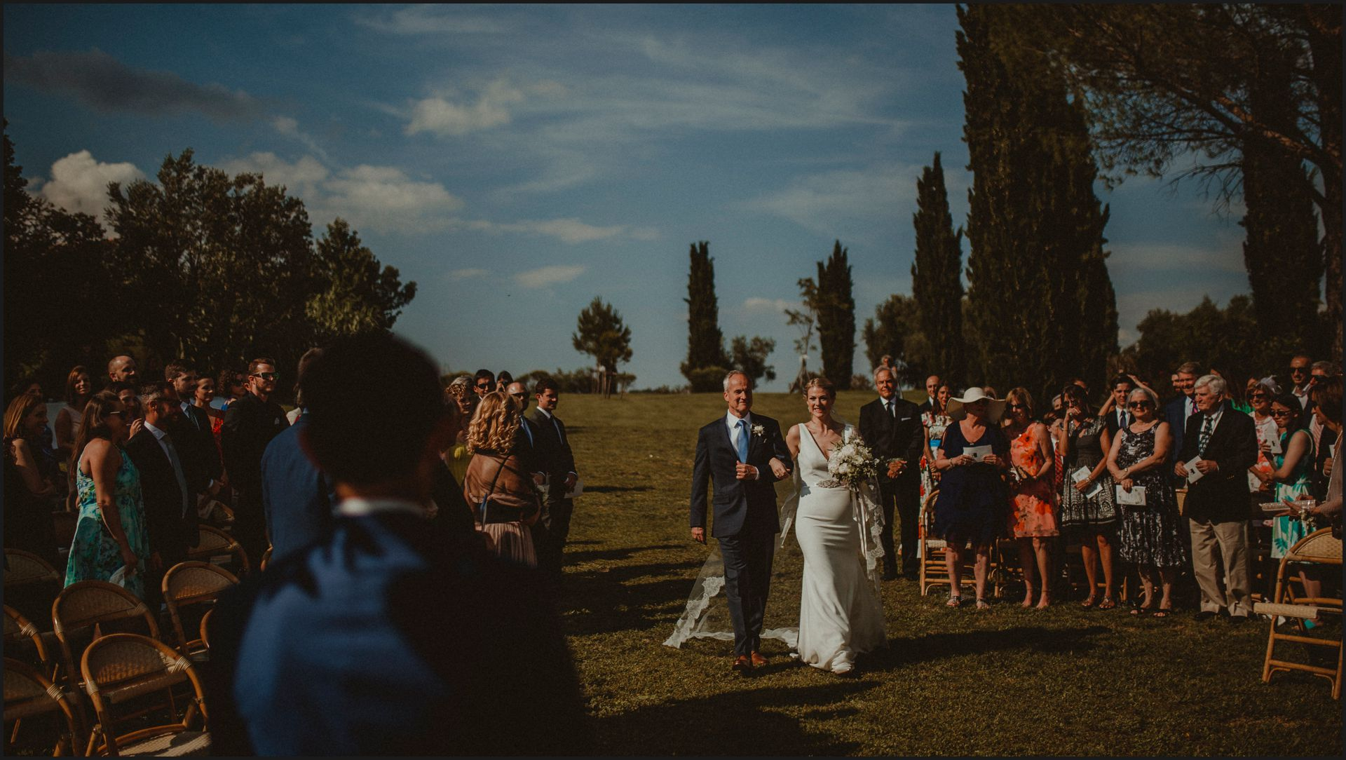 tenuta di canonica, umbria, wedding, ceremony, country, bride, walking the aisle