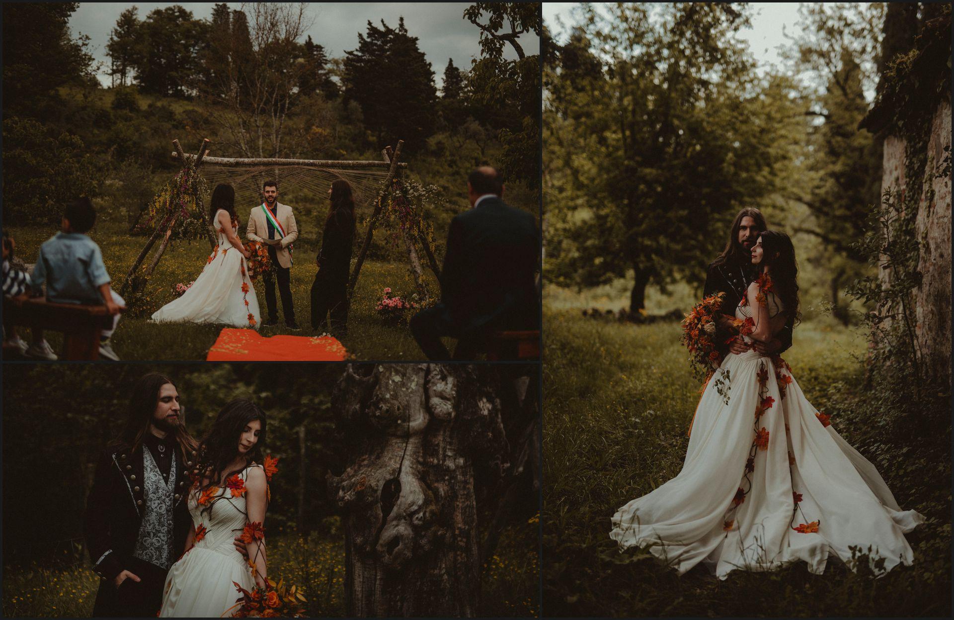 tuscany, alternative wedding, bride, couple portrait