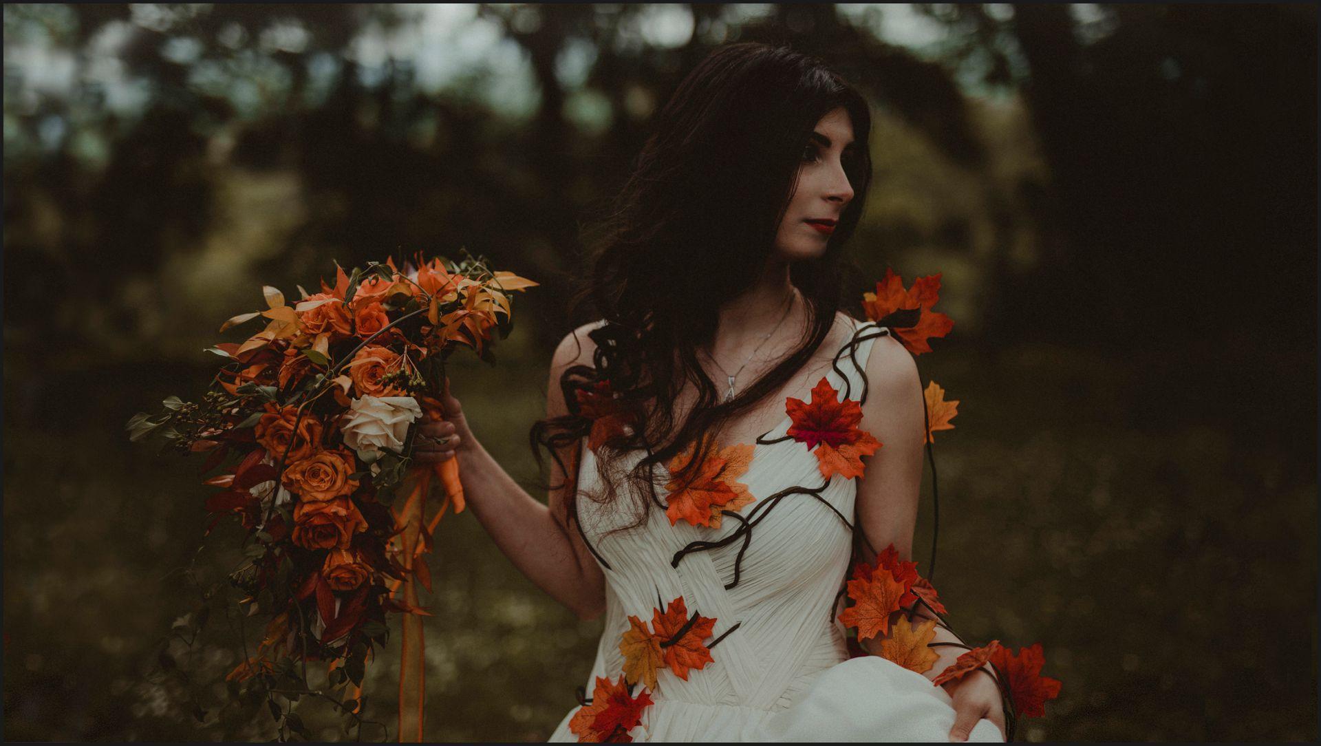 bride, portrait, tuscany, alternative wedding, rock bride, autumn