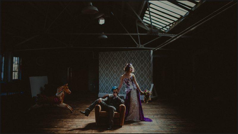 groom, bride, rock wedding, steampunk, ultraviolet, alternative wedding photographer
