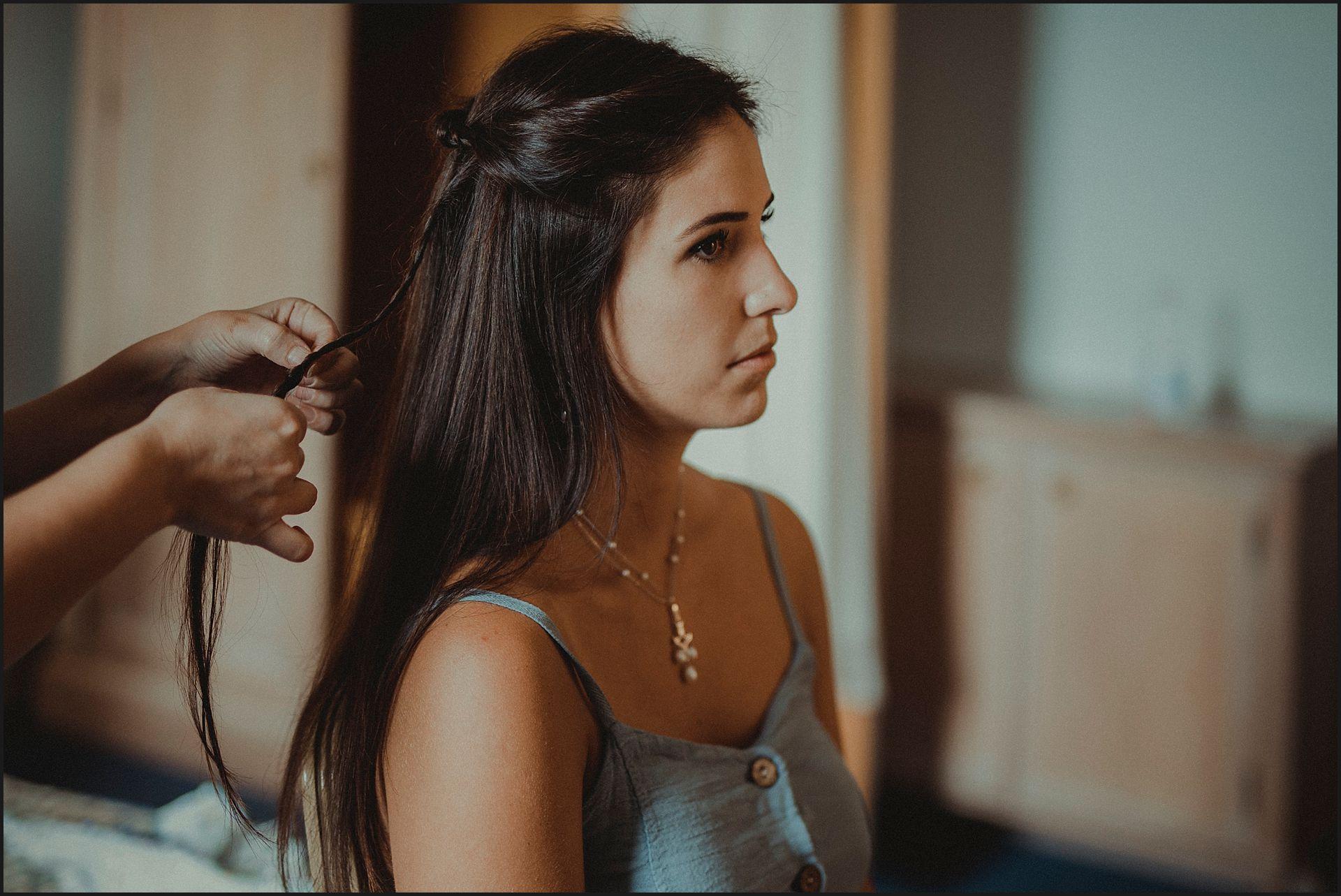 bride, getting ready, braids