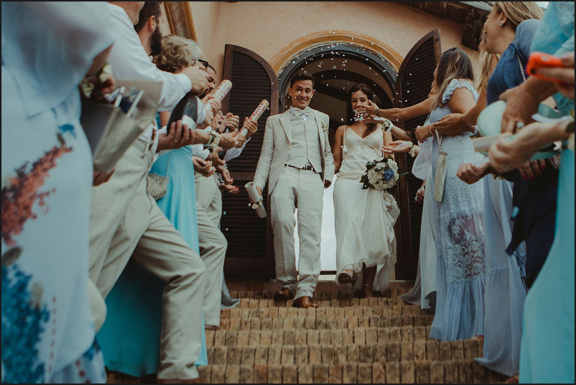 rice throwing, ceremony, friends, destination wedding, civitavecchia, rome, brazilian couple