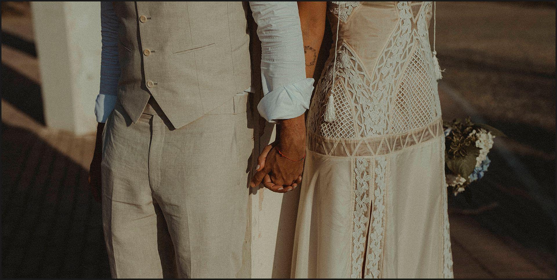 Bride and groom, hand in hand, destination wedding, civitavecchia, brazilian couple, details, dress details