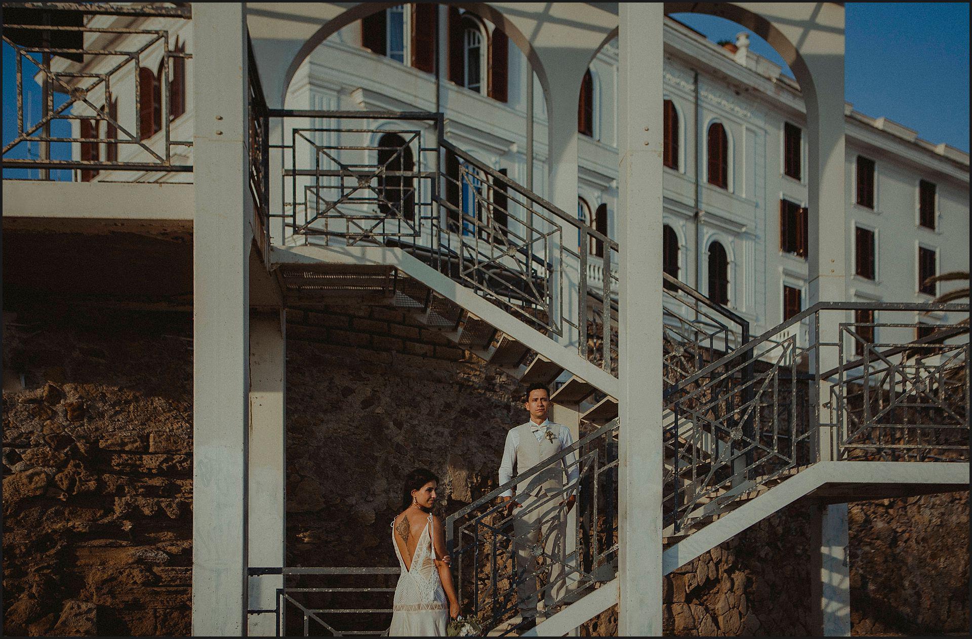 Bride, groom, portrait, geometry, urban