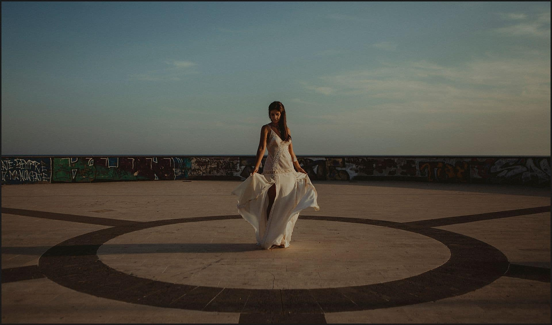 bride, dress, dancing, wedding gown, symmetry, geometries, circle, afternoon light
