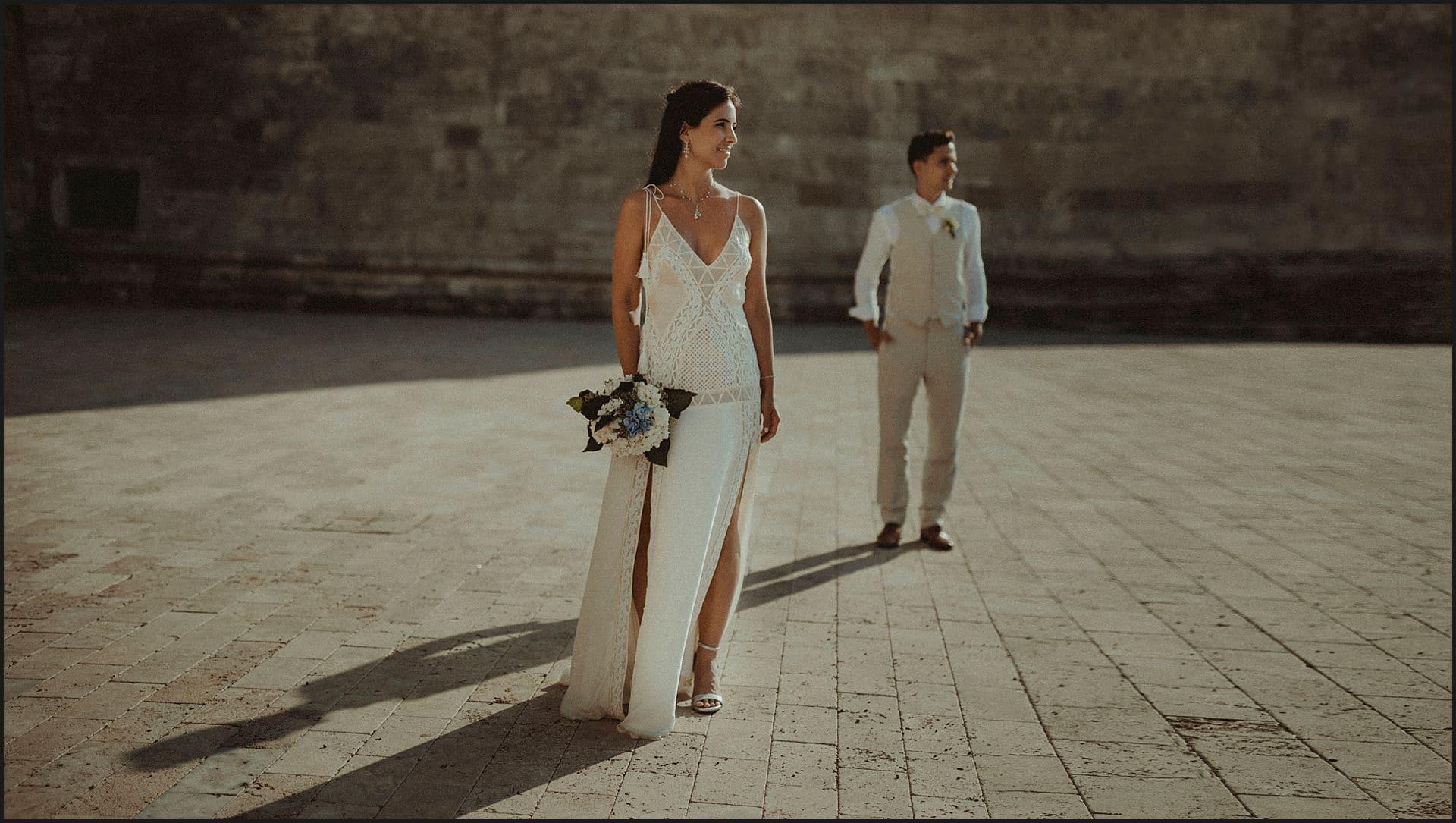 bride, groom, wedding gown, sunset, civitavecchia
