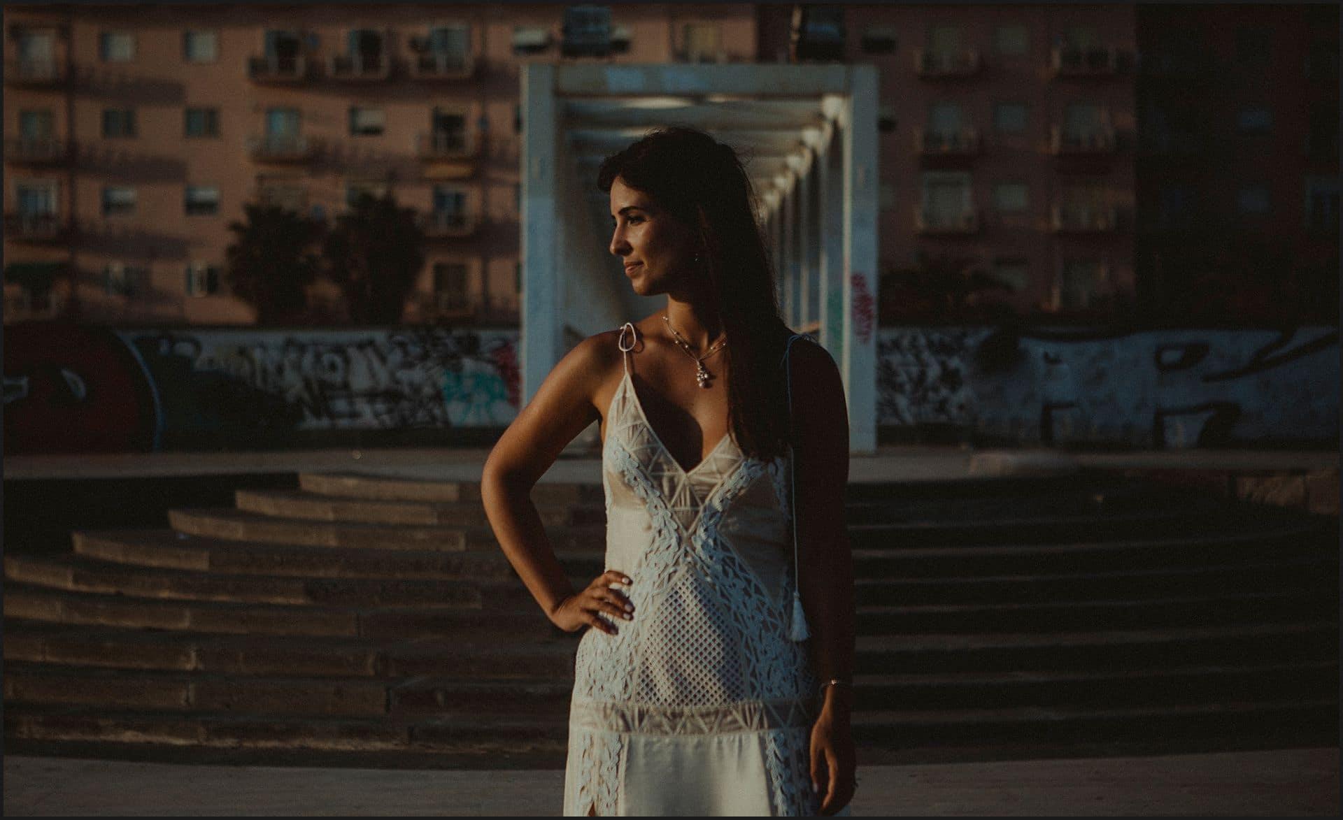 bride portrait, wedding gown, sunset, civitavecchia, rome