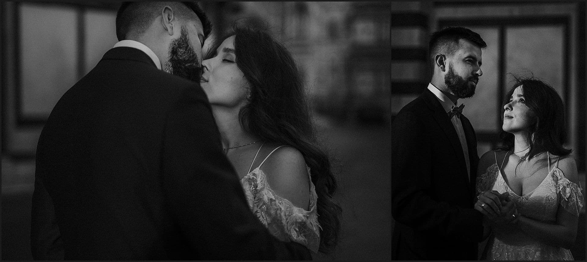 kiss, bride and groom, intimate portrait, wedding, elopement, tuscany, black and white