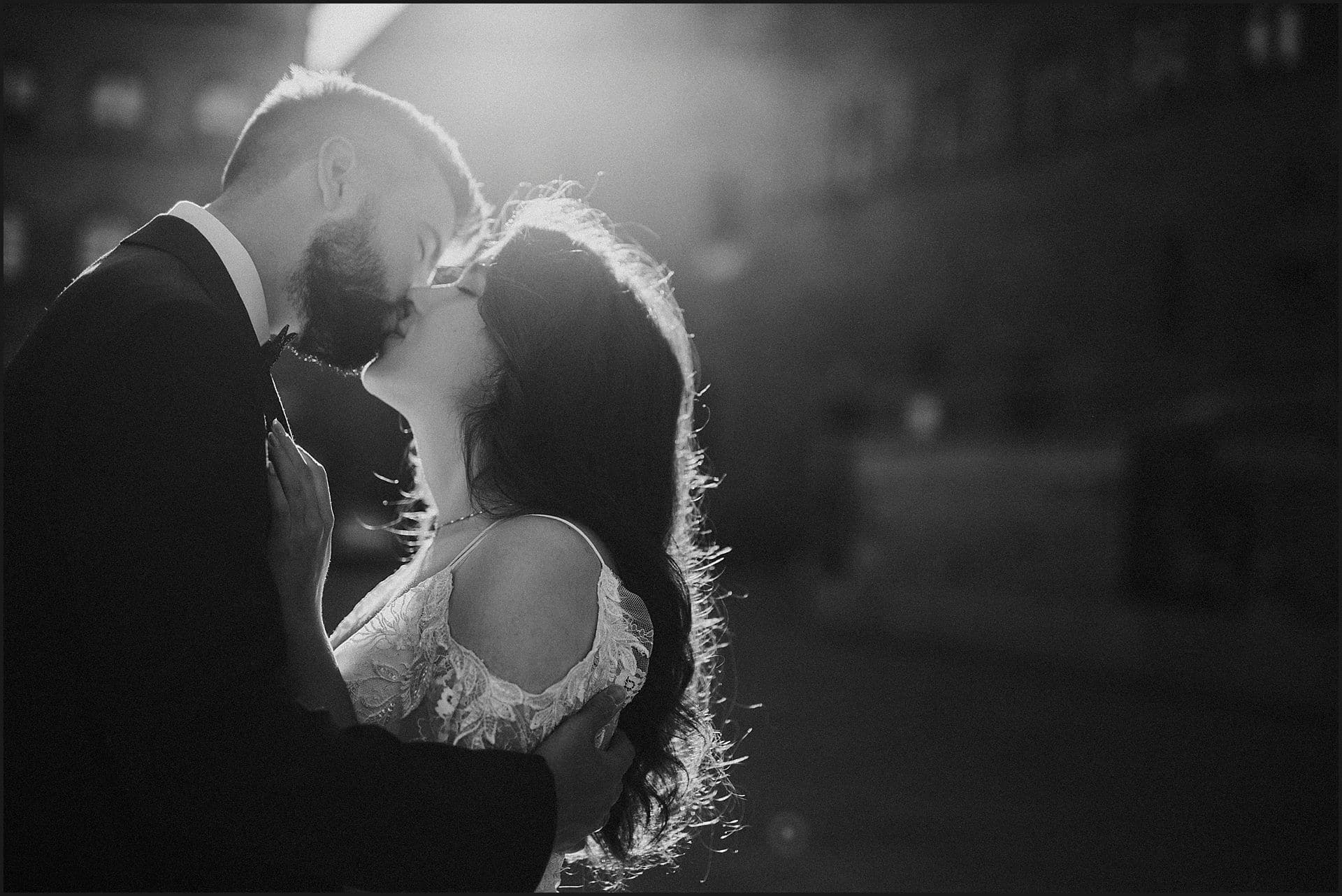 bride, groom, kiss, intimate portrait, black and white