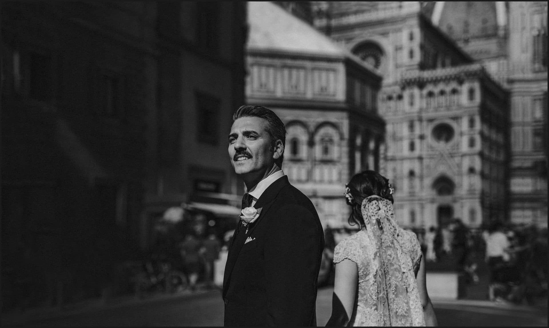 tuscany, wedding, black and white, groom