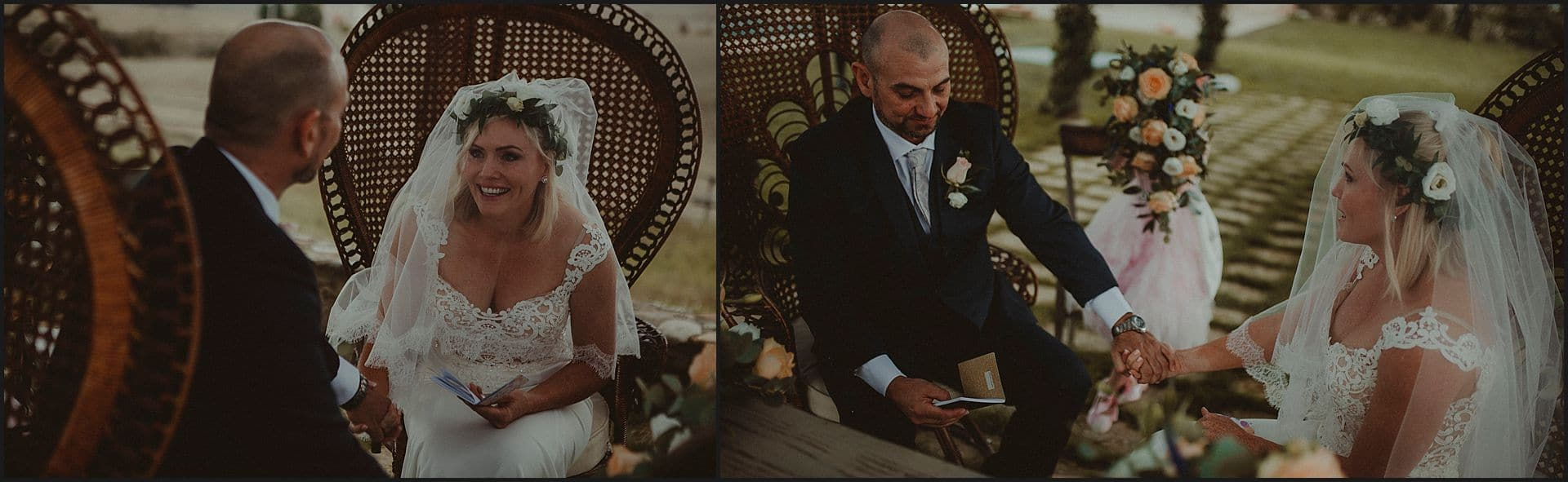 destination wedding, australian couple, bride, groom, wedding vows, locanda in tuscany, emotional moments, tuscany, siena