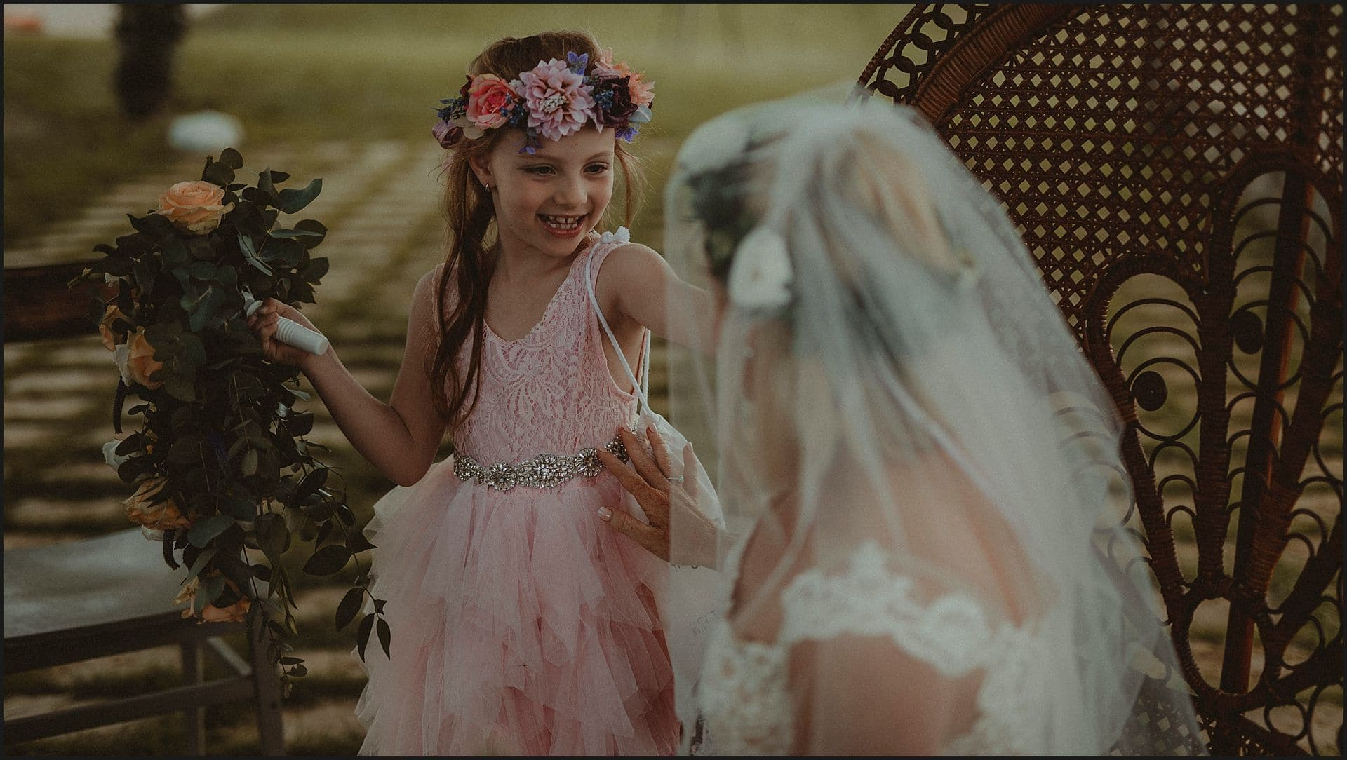 bride, daughter, happy moment, bouquet, flowers, maid of honor