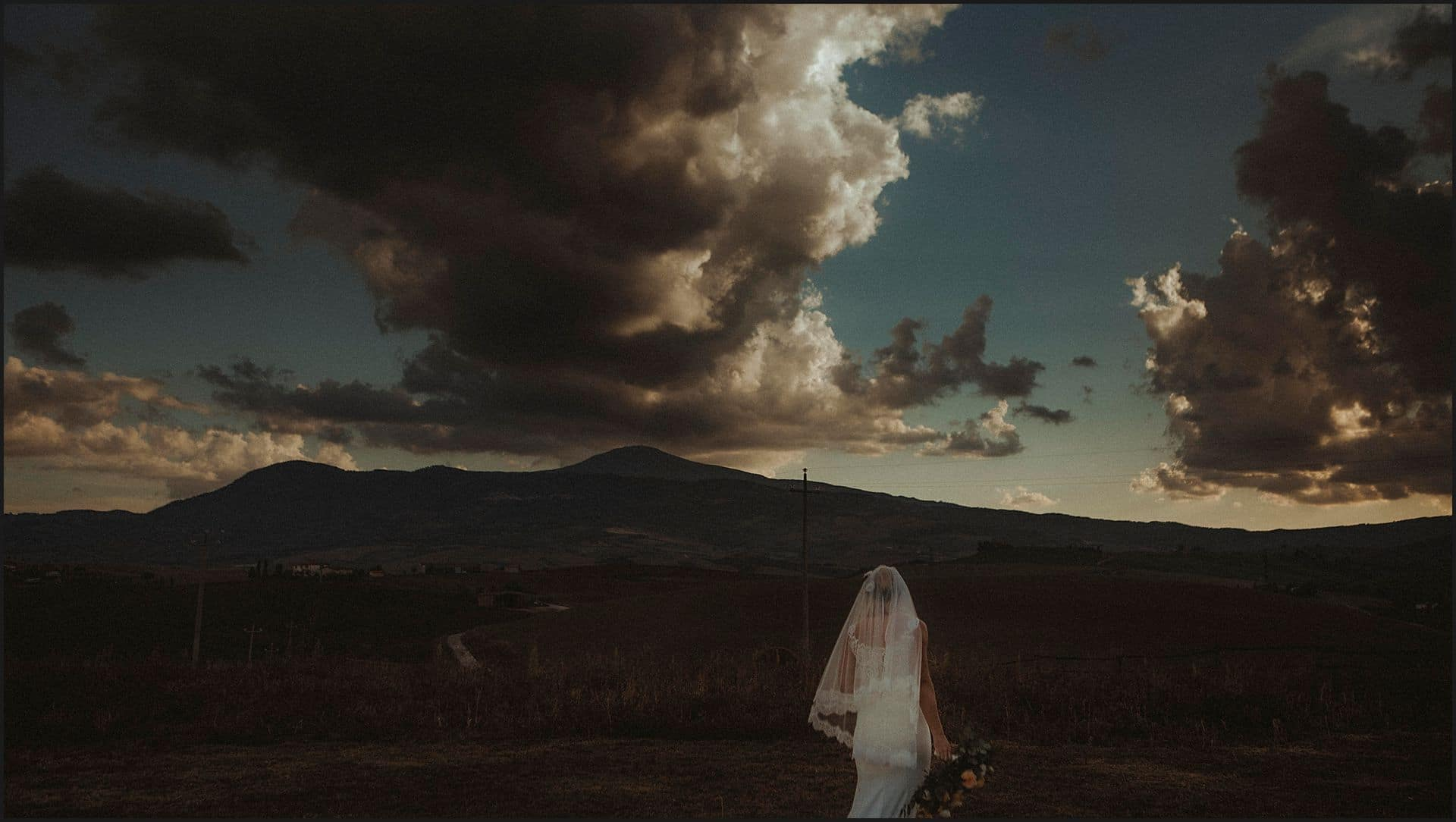 bride, destination wedding, clouds, tuscany, siena
