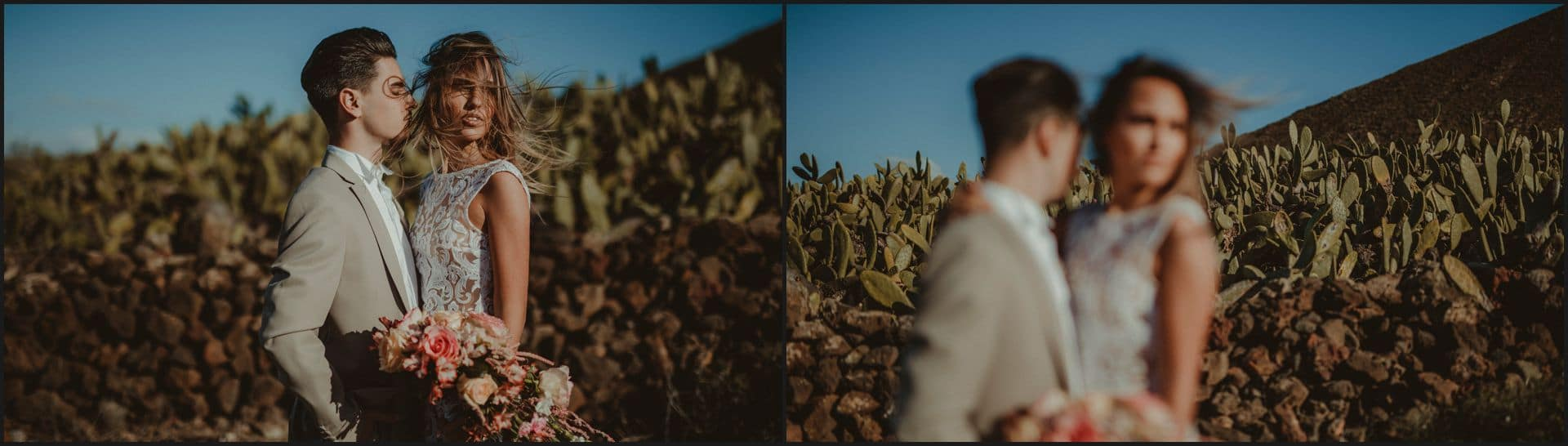 lanzarote, wedding, elopement, bride, groom, cactus