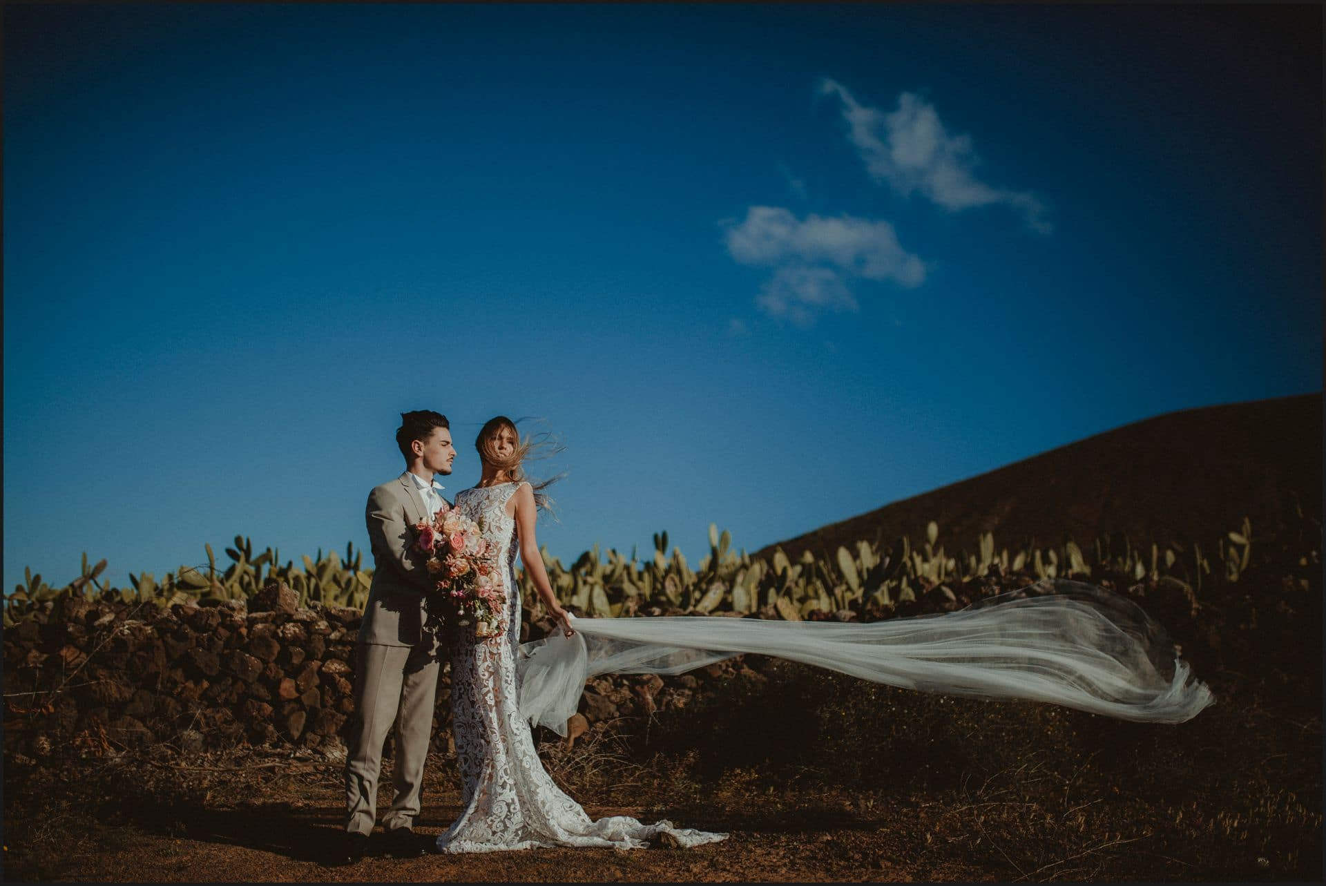 lanzarote, wedding, elopement, bride, groom, veil, wind
