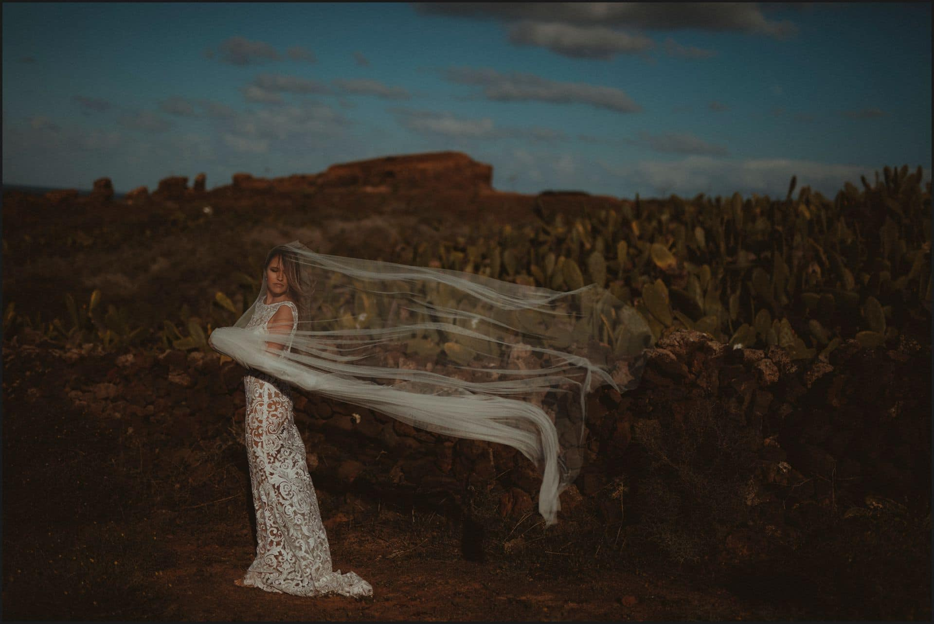lanzarote, wedding, elopement, bride, blue sky, wind, veil